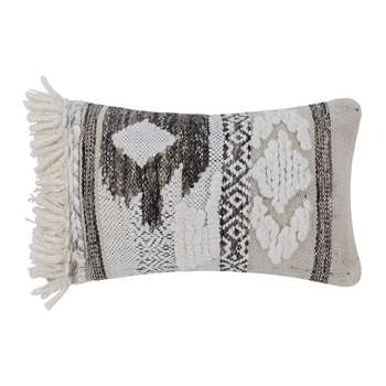 A by Amara - Diamond Fringed Cushion - Natural/Grey (H30 x W50cm)