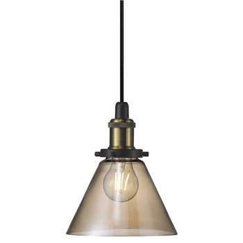 A by Amara - Disa E27 Pendant Light - Amber (H21.5 x W18.5 x D18.5cm)