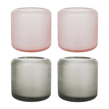 A by Amara - Dixie Glass Votives - Set of 4 - Grey/Peach (7.9 x 5.7cm)