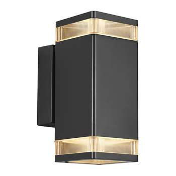A by Amara - Elm Double Outdoor Wall Light - Black (H23.5 x W11cm)