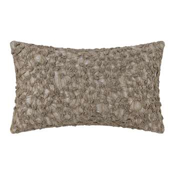 A by Amara - Embroidered Textured Cushion - Ivory/Mushroom (H30 x W50cm)