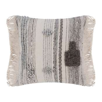 A by Amara - Ethnic Fringe Cushion - Natural/Grey (H50 x W50cm)