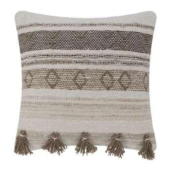 A by Amara - Ethnic Tassel Cushion - Natural/Brown (H50 x W50cm)