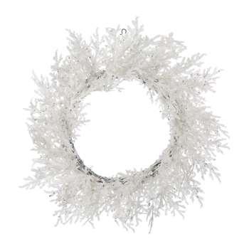 A by Amara - Feather Glitter Pine Wreath - White (Diameter 45cm)