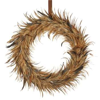 A by Amara - Feather Wreath - Brown (Diameter 58.5cm)