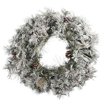A by Amara - Flock Needle Pine Wreath (Diameter 61cm)