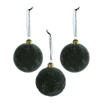 A by Amara - Flocked Bauble - Set of 3 - Green (H8 x W8cm)