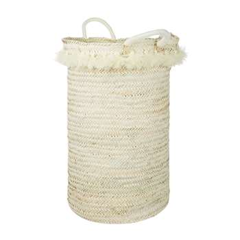 A by Amara - Fluorspar Laundry Basket with Tassels - Cream (Height 60cm)