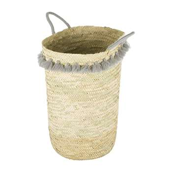A by Amara - Fluorspar Laundry Basket with Tassels - Grey (Height 60cm)