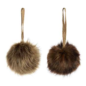 A by Amara - Furry Baubles - Set of 2 - Brown (H8 x W8 x D8cm)
