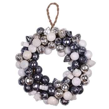 A by Amara - Glass Ball Wreath - Grey/White (Diameter 25cm)