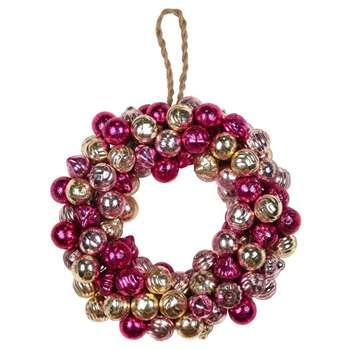 A by Amara - Glass Ball Wreath - Pink/Gold (Diameter 25cm)