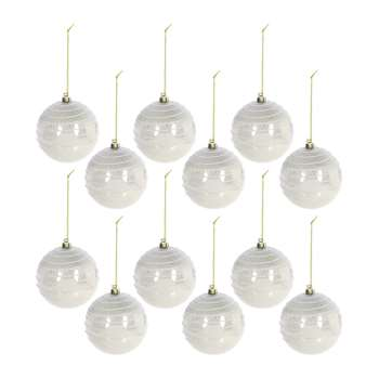 A by Amara - Glitter Top Lines Bauble - Set of 12 - Pearl (H8 x W8cm)
