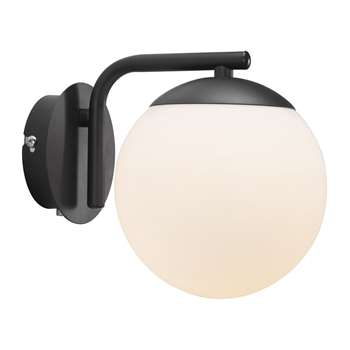 A by Amara - Grant Wall Light - Opal White/Black (H16.4 x W14.5 x D14.5cm)