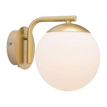 A by Amara - Grant Wall Light - Opal White/Brass (H16.4 x W14.5 x D14.5cm)