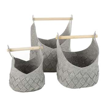 A by Amara - Grey Felted Basket with Wooden Handles - Set of 3