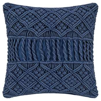A by Amara - Grid Crochet Cushion - Blue (H45 x W45cm)