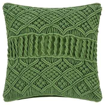 A by Amara - Grid Crochet Cushion - Green (H45 x W45cm)