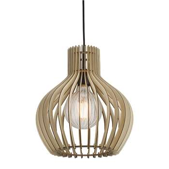 A by Amara - Groa E27 Wood Pendant Light (35.5 x 31cm)