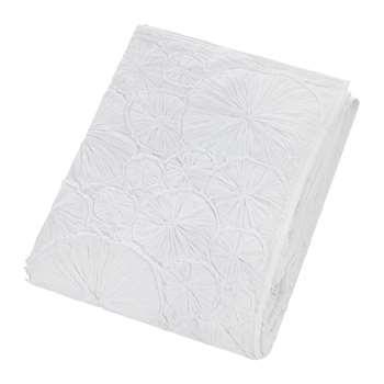 A by Amara - Hand Appliqued Cotton Throw - White (H150 x W220cm)