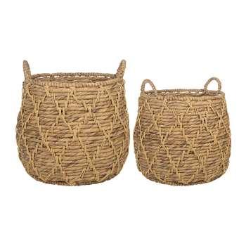 A by Amara - Hanoi Woven Baskets - Set of 2 (H49 x W48.5 x D48.5cm)