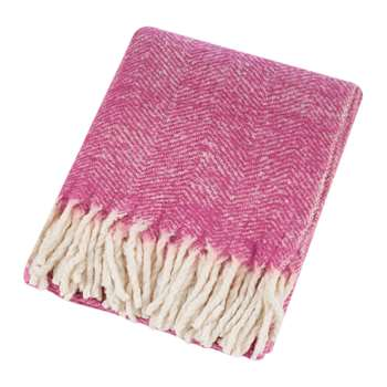 A by Amara - Herringbone Throw - Pink (H130 x W170cm)