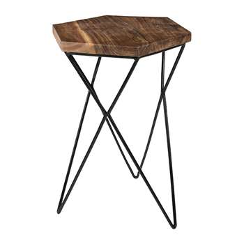 A by Amara - Hexagon Wooden Side Table (H50 x W36 x D33cm)