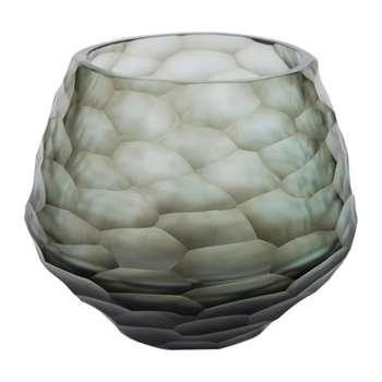 A by Amara - Hidcote Glass Votive - Steel Blue (10 x 12.5cm)