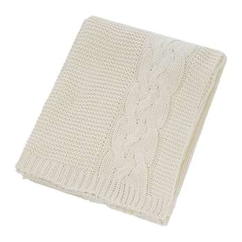 A by Amara - Knitted Cable Throw - Natural (H130 x W170cm)