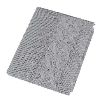 A by Amara - Knitted Cable Throw - Silver (H130 x W170cm)