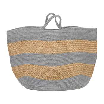 A by Amara - Knitted Jute Striped Basket - Grey/Natural (H30 x W42 x D44cm)