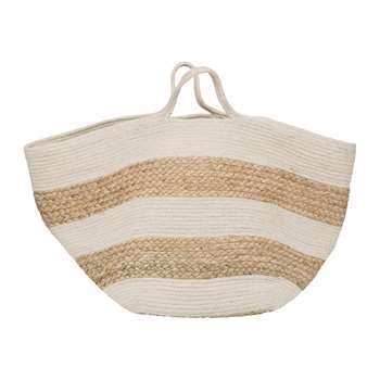 A by Amara - Knitted Jute Striped Basket - White/Natural (H30 x W42 x D44cm)