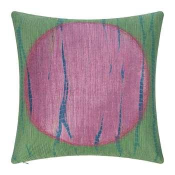 A by Amara - Large Circle Print Cushion - Green/Pink (H45 x W45cm)