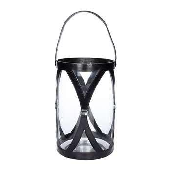 A by Amara - Large Leather & Glass Hurricane - Black (H30.5 x W20 x D20cm)