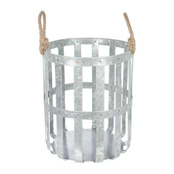 A by Amara - Large Woven Galvanised Basket with Rope Handles (H42 x W35 x D35cm)