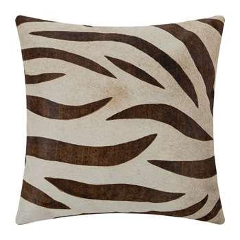 A by Amara - Large Zebra Print Cowhide Cushion - Natural/Beige (H45 x W45cm)