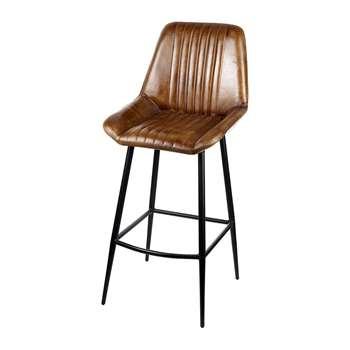 A by Amara - Leather Billy Barstool - Brown (H105 x W58cm)