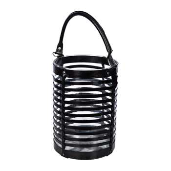 A by Amara - Leather Caged Glass Hurricane - Black (H30.5 x W20 x D20cm)