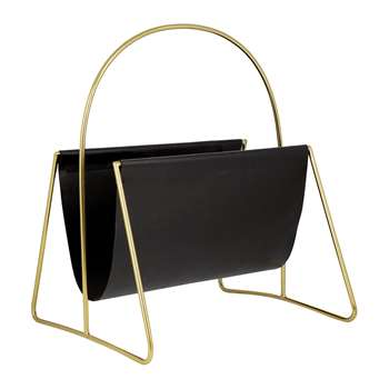 A by Amara - Leather Magazine Basket - Gold/Black (H45.5 x W43 x D12.5cm)