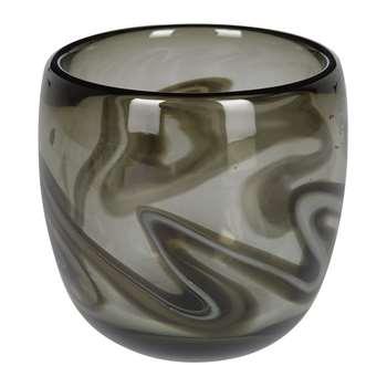 A by Amara - Marbled Grey Glass Votive (H10.5 x W10.5 x D10.5cm)