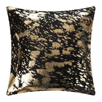 A by Amara - Metallic Acid Cowhide Cushion - Black/Gold (H45 x W45cm)