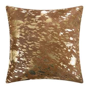 A by Amara - Metallic Acid Cowhide Cushion - Natural/Gold (H45 x W45cm)
