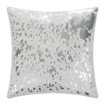 A by Amara - Metallic Acid Cowhide Cushion - White/Silver (H45 x W45cm)