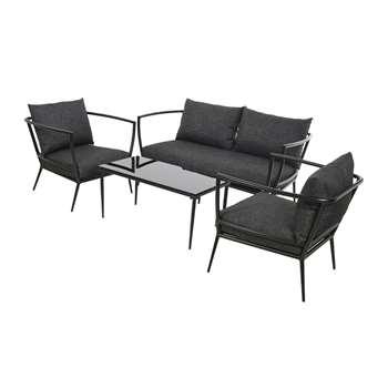 A by Amara - Milan Sofa Set - Black (H73.5 x W161 x D70cm)