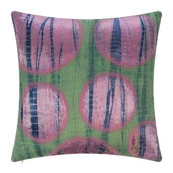 A by Amara - Multi Circle Print Cushion - Green/Pink - 45x45cm (H45 x W45cm)