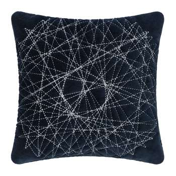 A by Amara - Navy Velvet Quilted Cushion (H30 x W30cm)