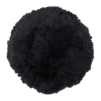 A by Amara - New Zealand Sheepskin Seat Pad - Long Wool - Black (38 x 38cm)