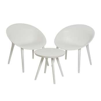 A by AMARA - Outdoor Coffee Table & Chair Set - White (H45 x W50 x D50cm)