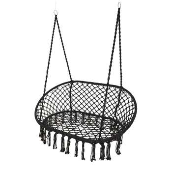 A by Amara - Outdoor Hanging 2 Seat Chair with Fringing - Black (H153 x W130 x D82cm)