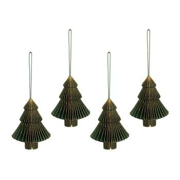 A by Amara - Paper Honeycomb Christmas Tree Hanging Decoration - Set of 4 - Forest Green (Height 10cm)